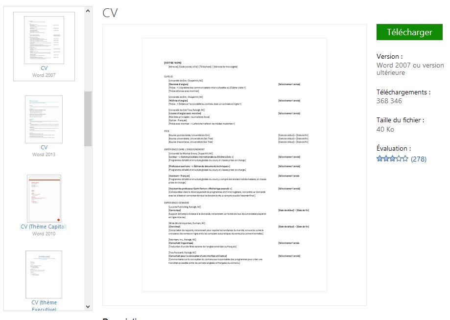 cv classique  u2013 recrutement et cv