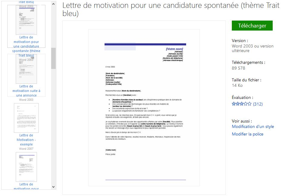 mod u00e8les word de lettre de motivation