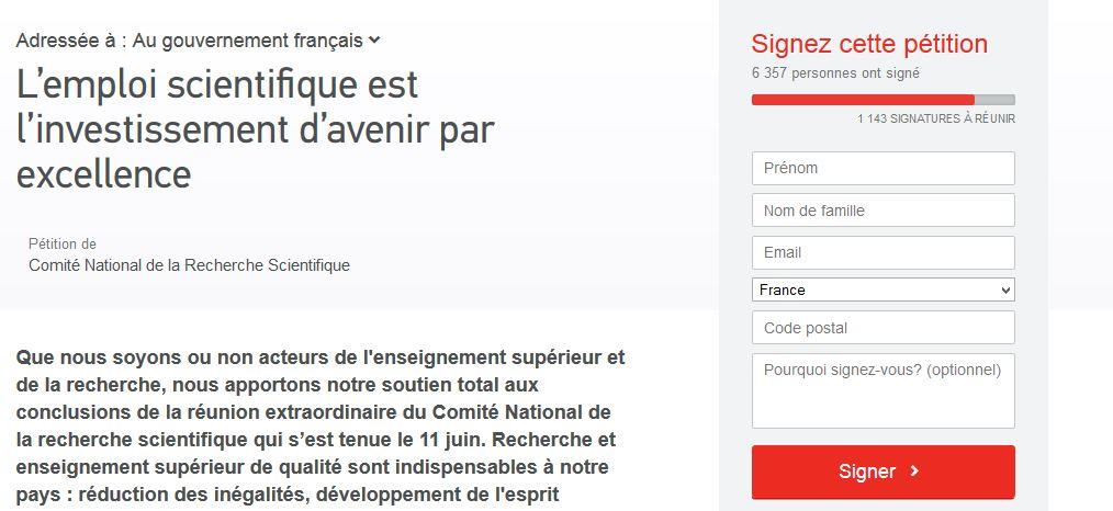 pétition emploi scientifique